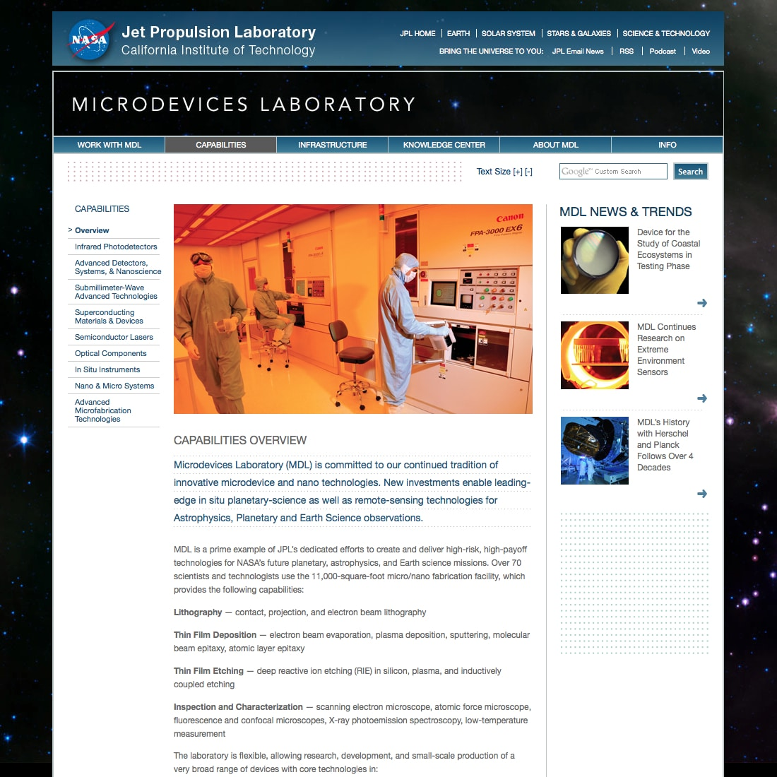 Capabilites | Microdevices Laboratory | NASA Jet Propulsion Laboratory California Institute of Technology