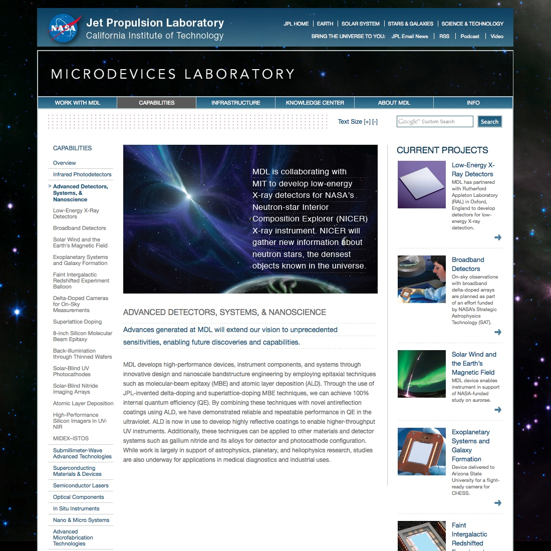 Advanced Detectors, Systems, & Nanoscience | Capabilities | Microdevices Laboratory | NASA Jet Propulsion Laboratory California Institute of Technology