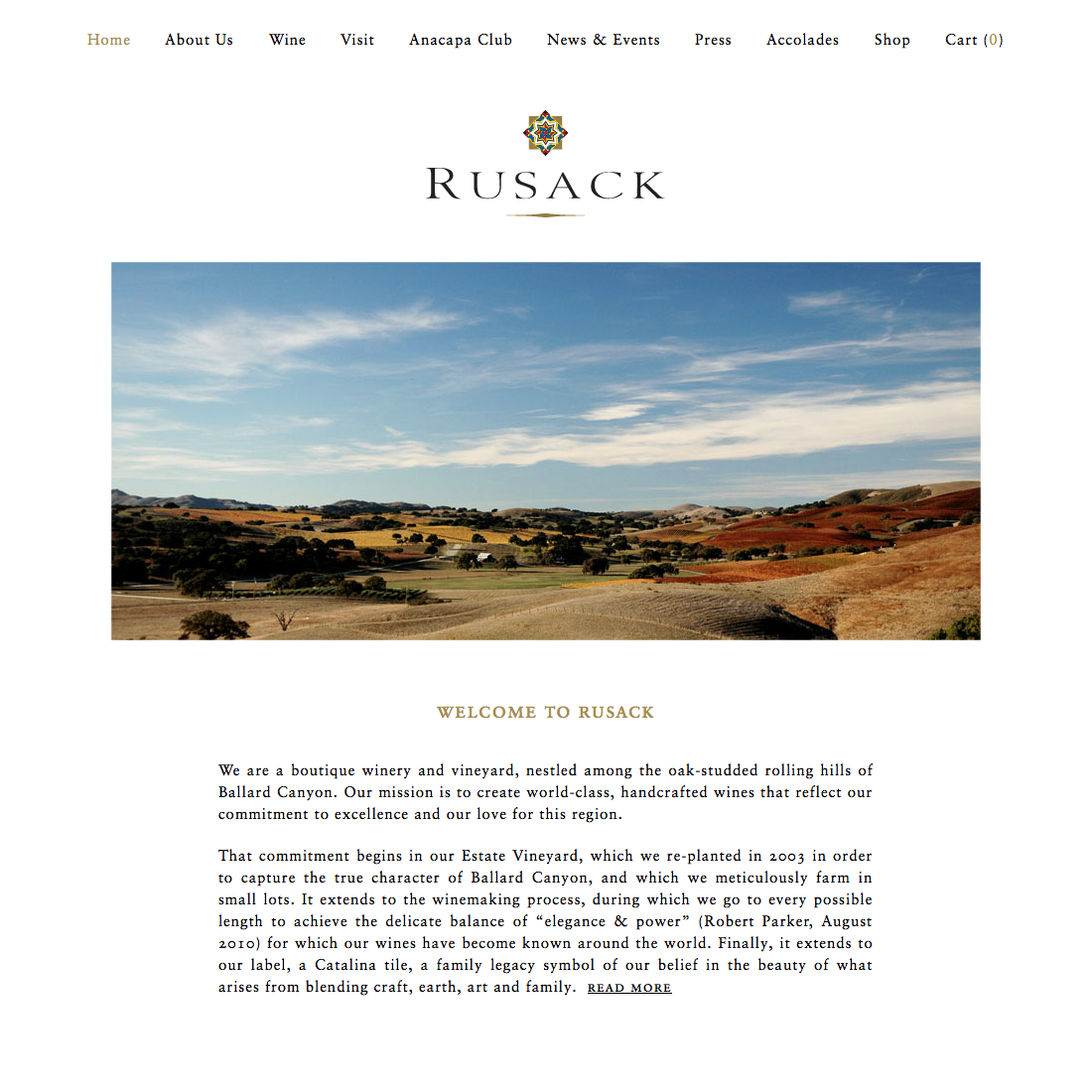 Rusack, A boutique winery and vineyard, nestled among the oak-studded rolling hills of Ballard Canyon